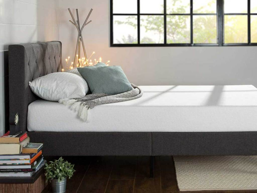 gray platform bed