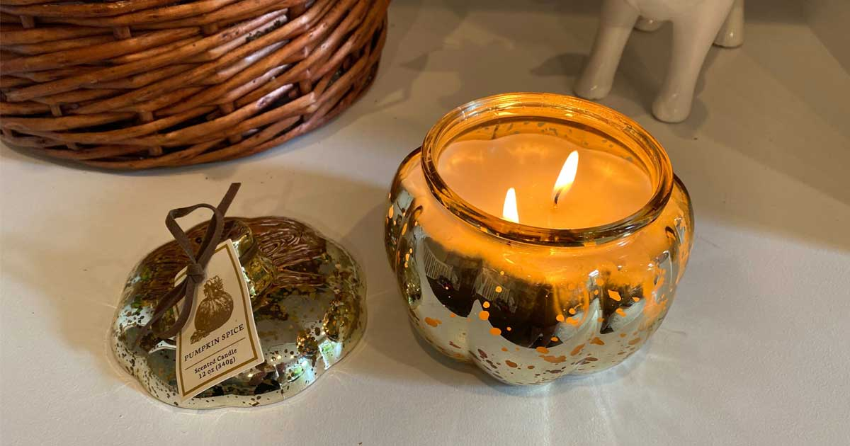 pumpkin mercury glass candle lit