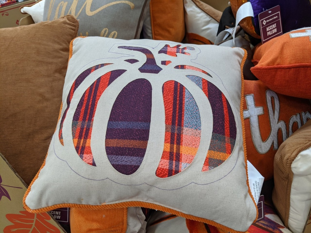 off white pillow with a pumpkin printed on it