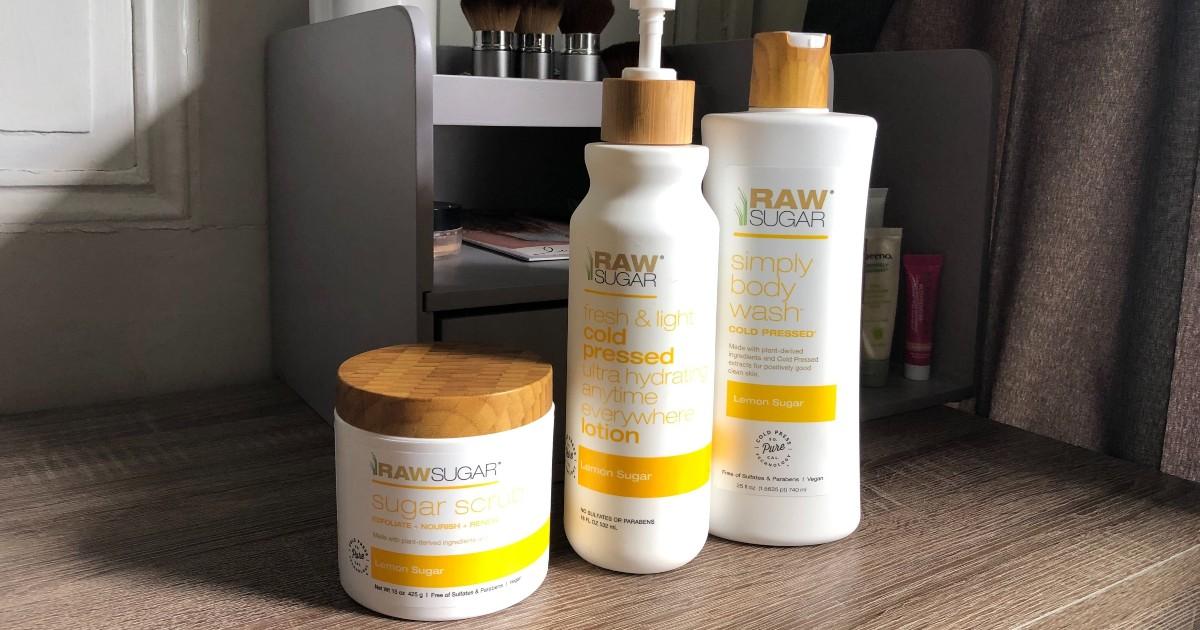 Raw Sugar Bath and Body products in bathroom