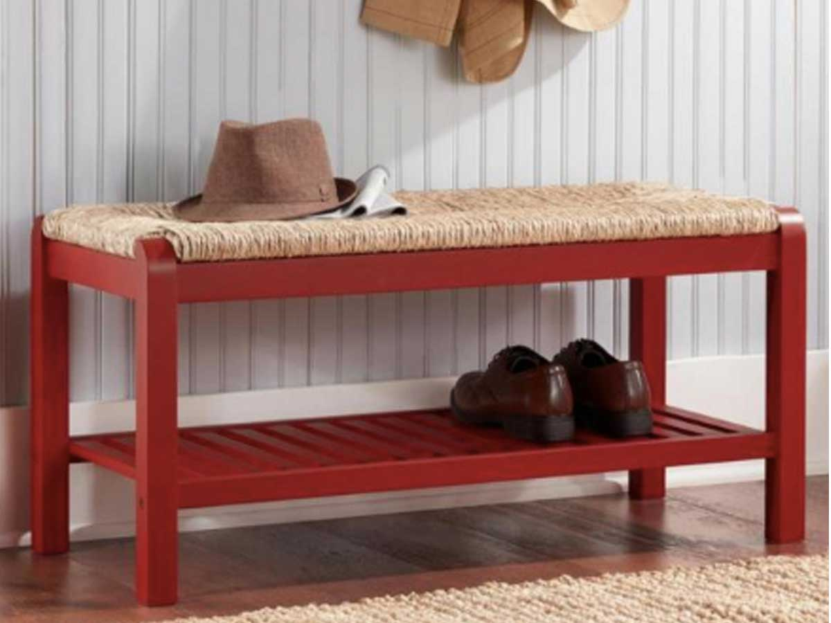 red wood entryway bench
