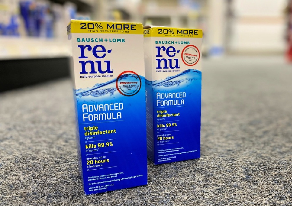 renu contact solution bottles on floor of store
