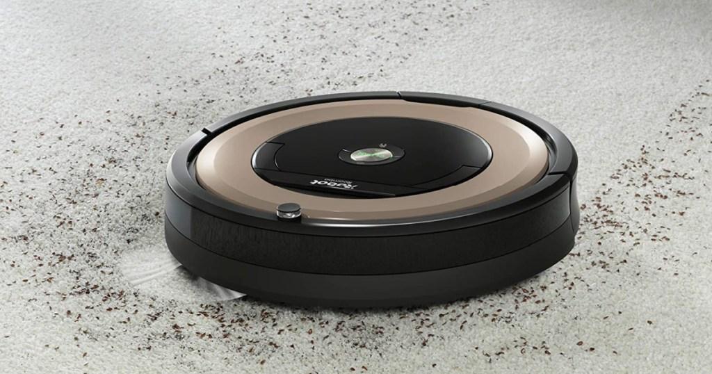 iRobot roomba shown cleaning dirt