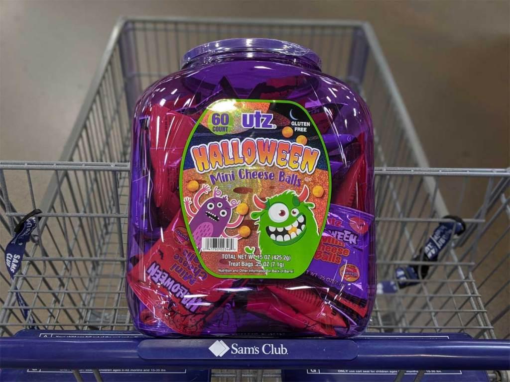 Cheese Balls Tub in Sam's Club basket