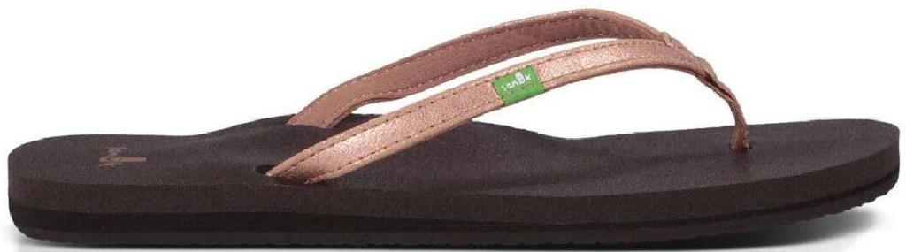 metallic flip flops