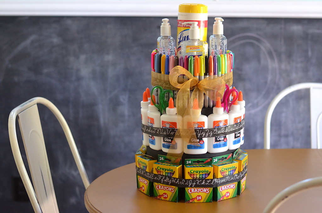 "DIY school supply ""cake"" on table"