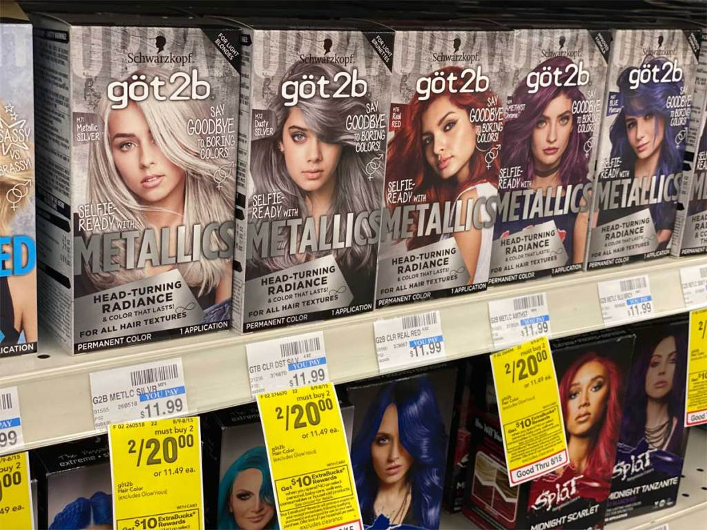 boxes of metallic hair color on shelf in store