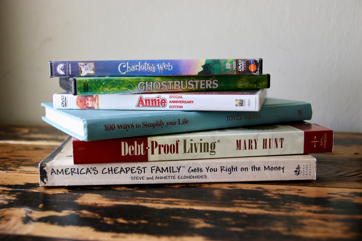 pile of books and movies