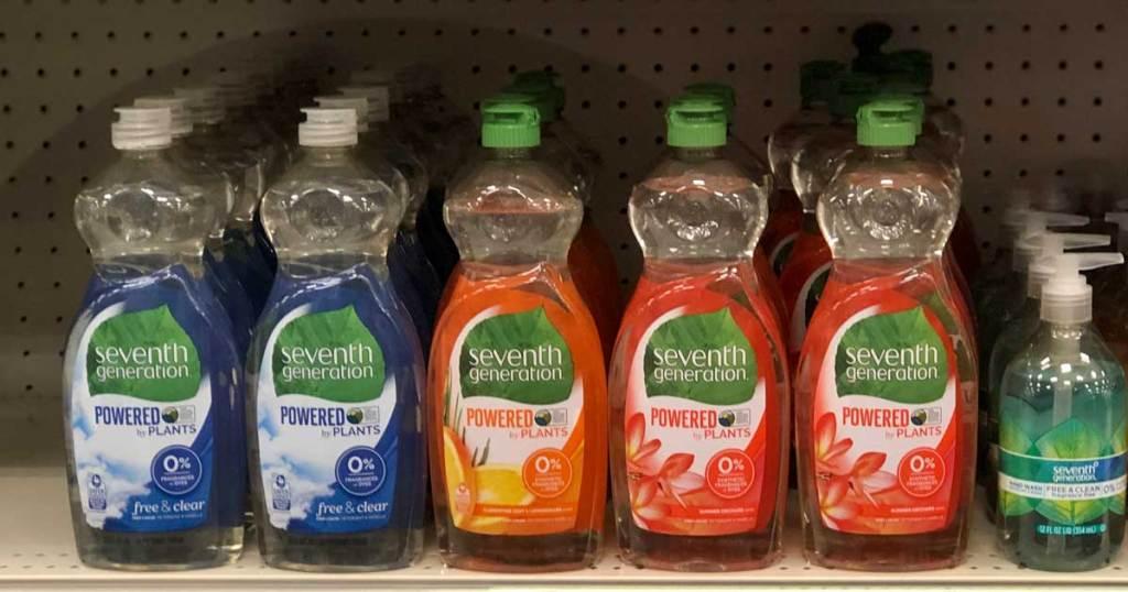 plant based dishwashing liquid soap on shelf in store