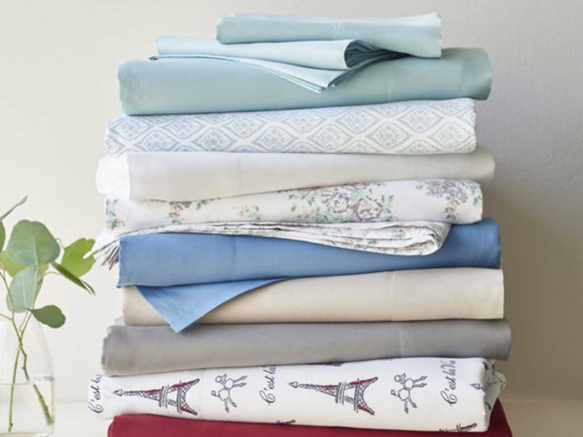 printed and solid colored sheet sets stacked