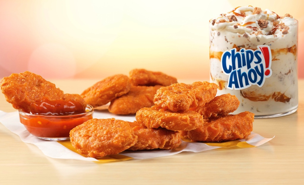 spicy chicken nuggets and chips ahoy mcflurry from mcdonald's