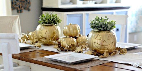 Transform a Dollar Tree Pumpkin into THIS with Spray Paint…