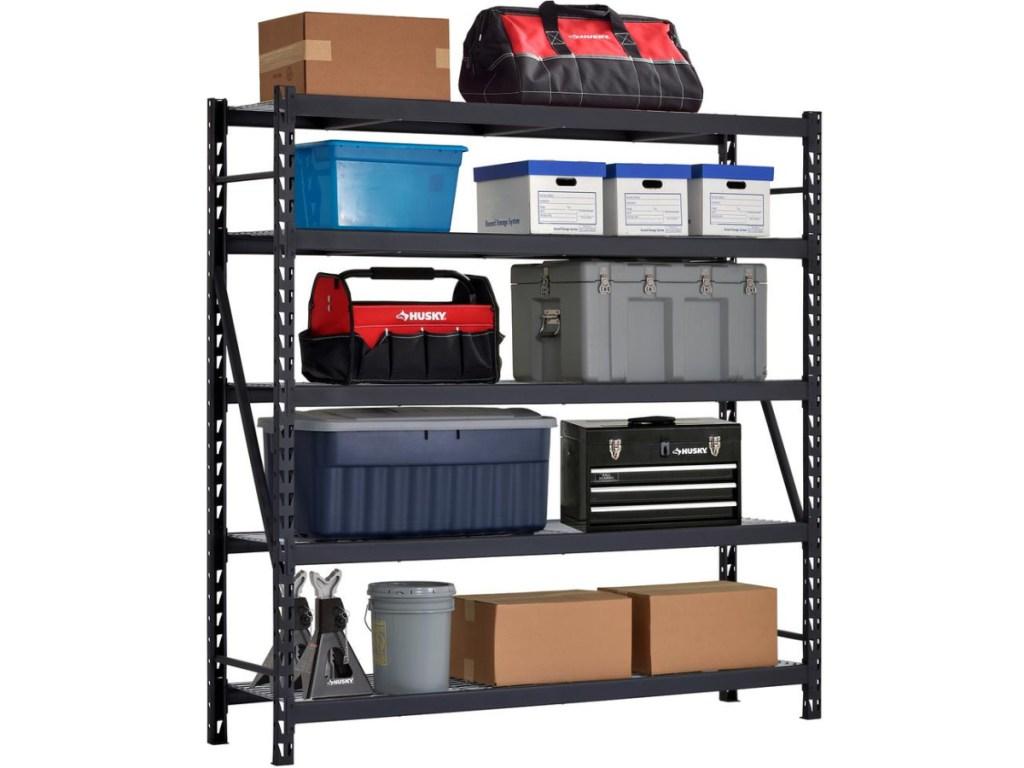 large black garage storage shelves fillled with garage type items