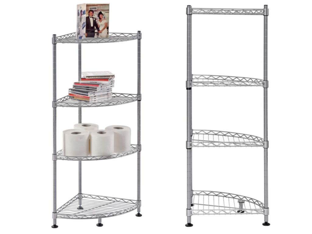 4 tier metal corner shelving unti