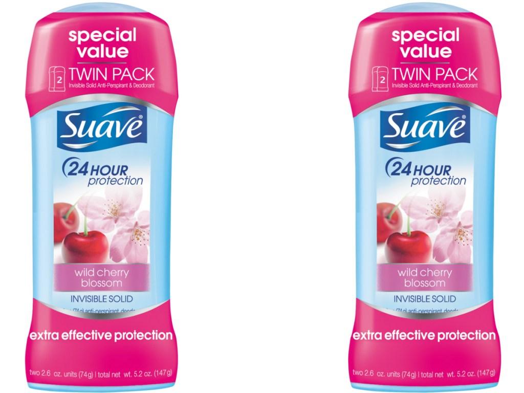 2 pink sticks of deodorant on white background