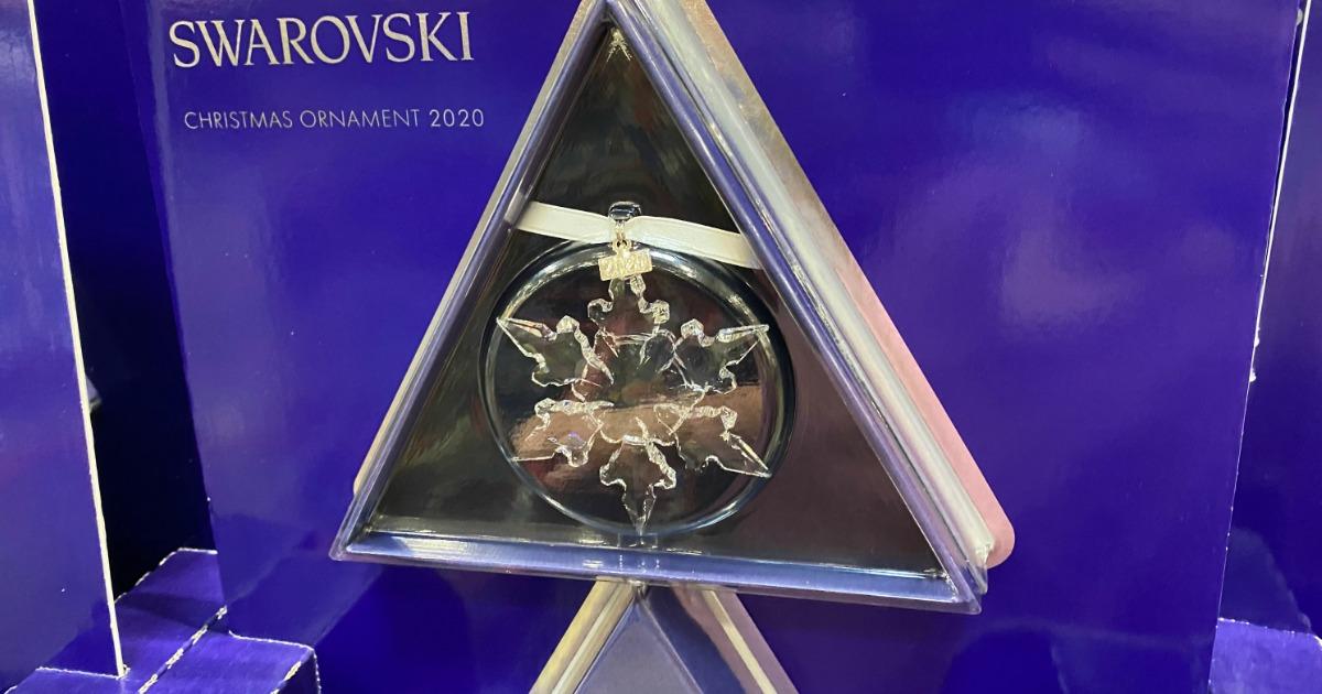 swarovski crystal snowflake ornament in packaging