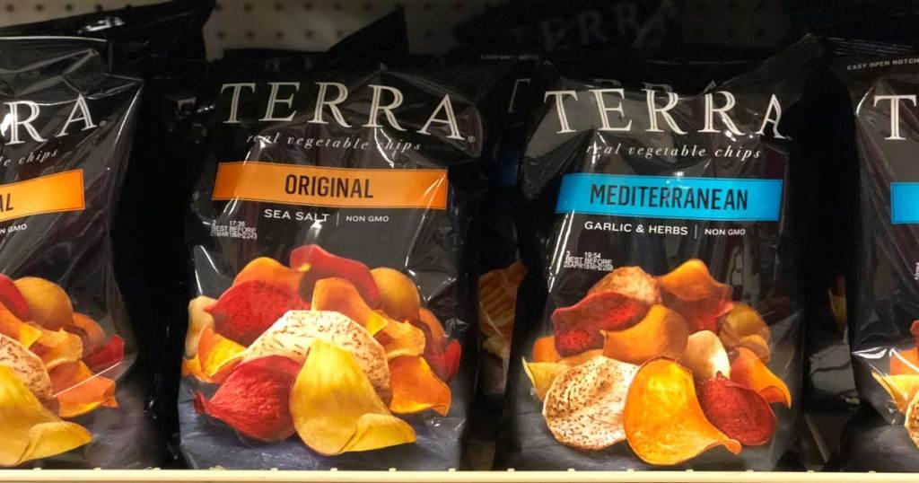 terra chips on shelf in store