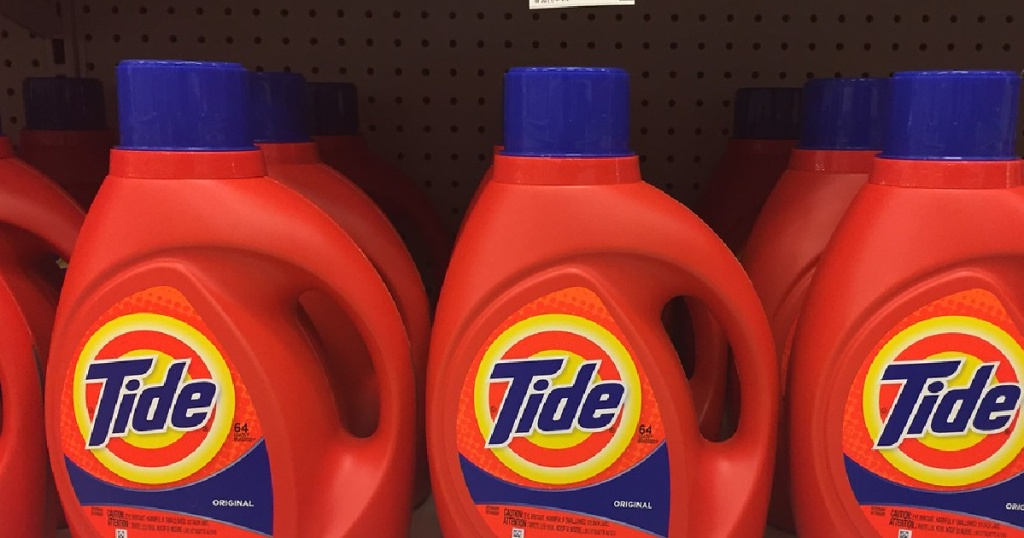 row of Tide products on a shelf