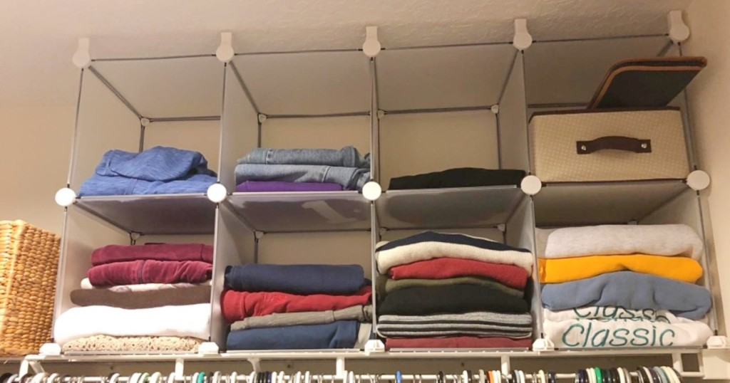storage cubes on shelf in closet