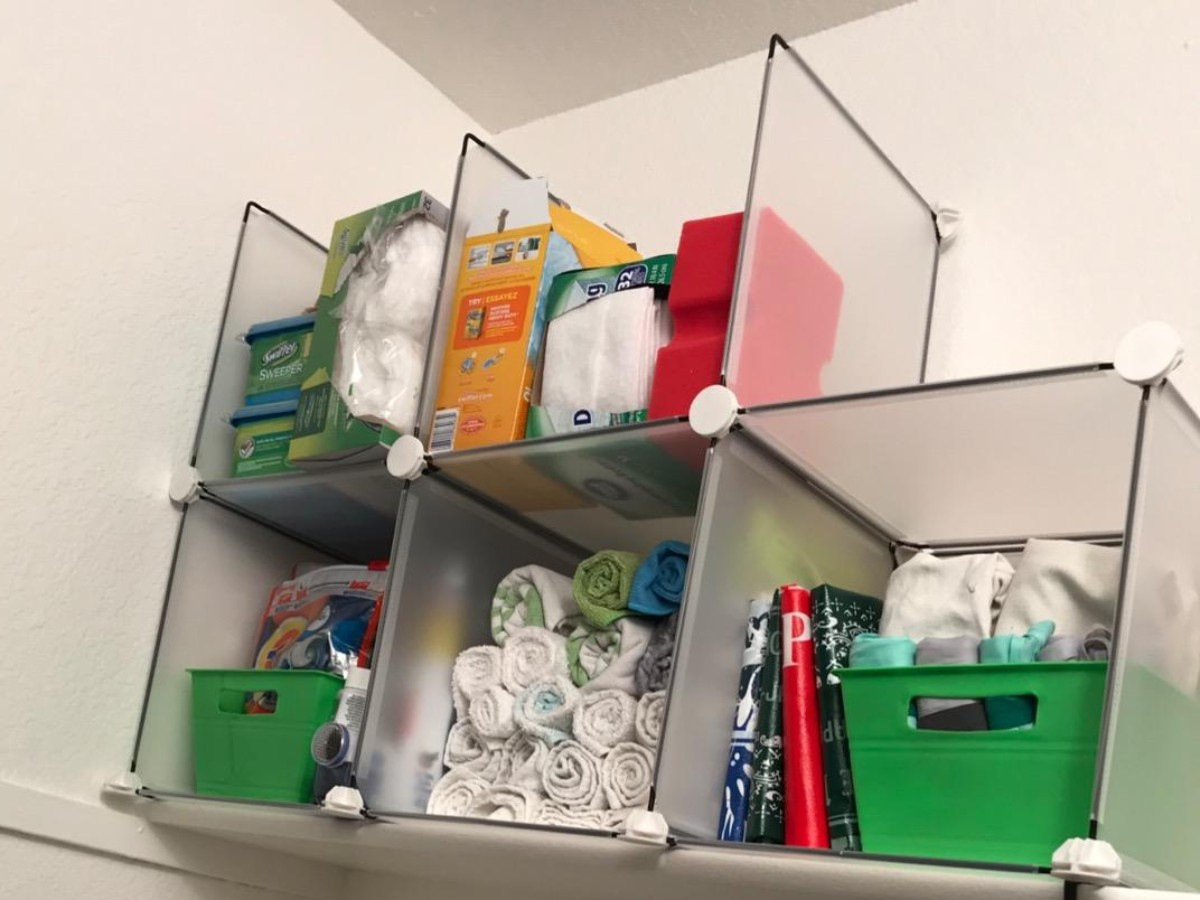 storage cubes in laundry room