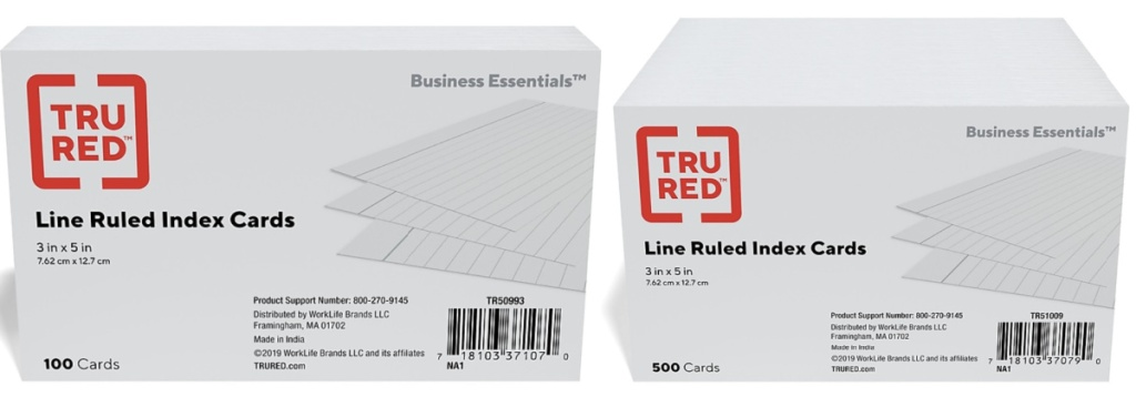 tru red lined ruled index cards 100 pack and 500 pack