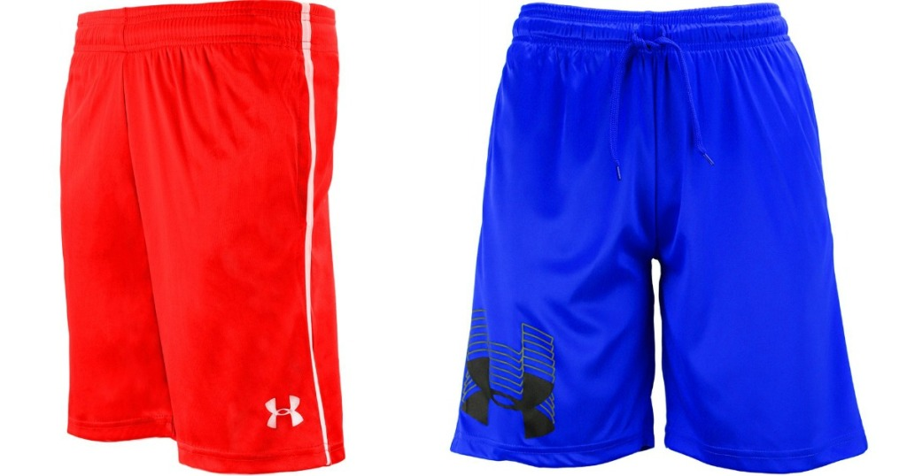 pair of red and pair of blue under armour shorts