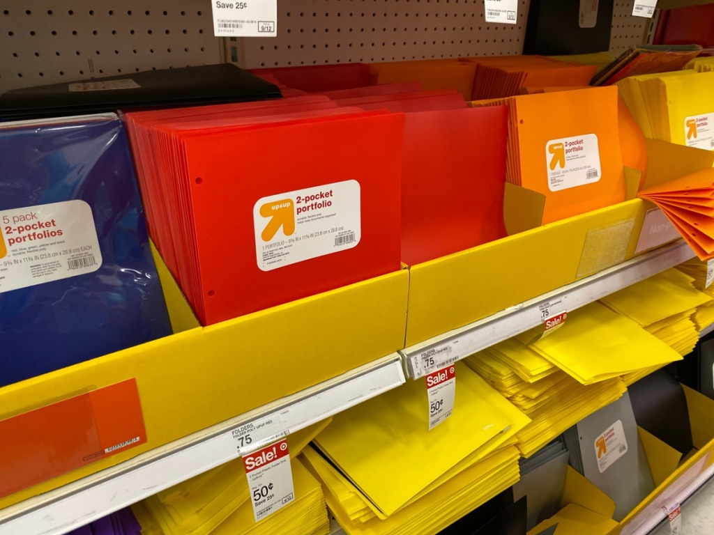 store display with school folders on it