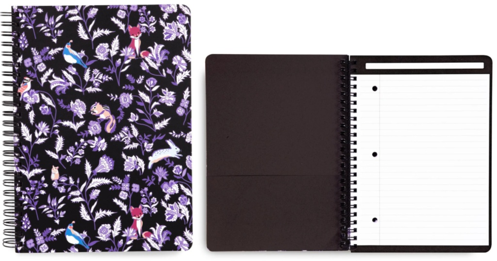 Vera Bradley Foxwood Notebook closed and open