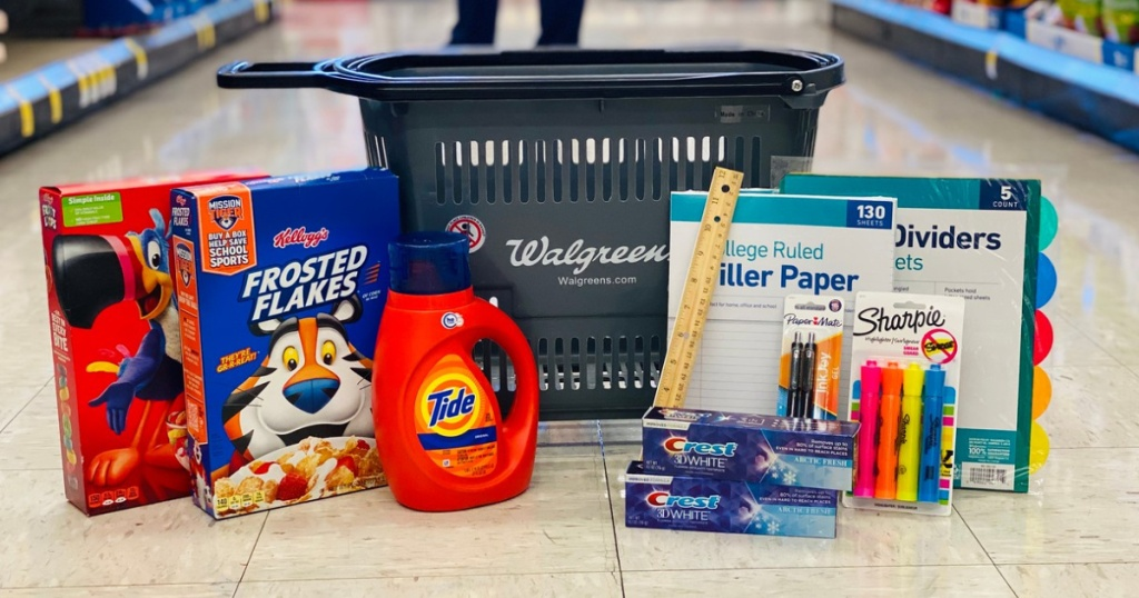 store carry basket with detergent, cereal and school supplies stacked around it