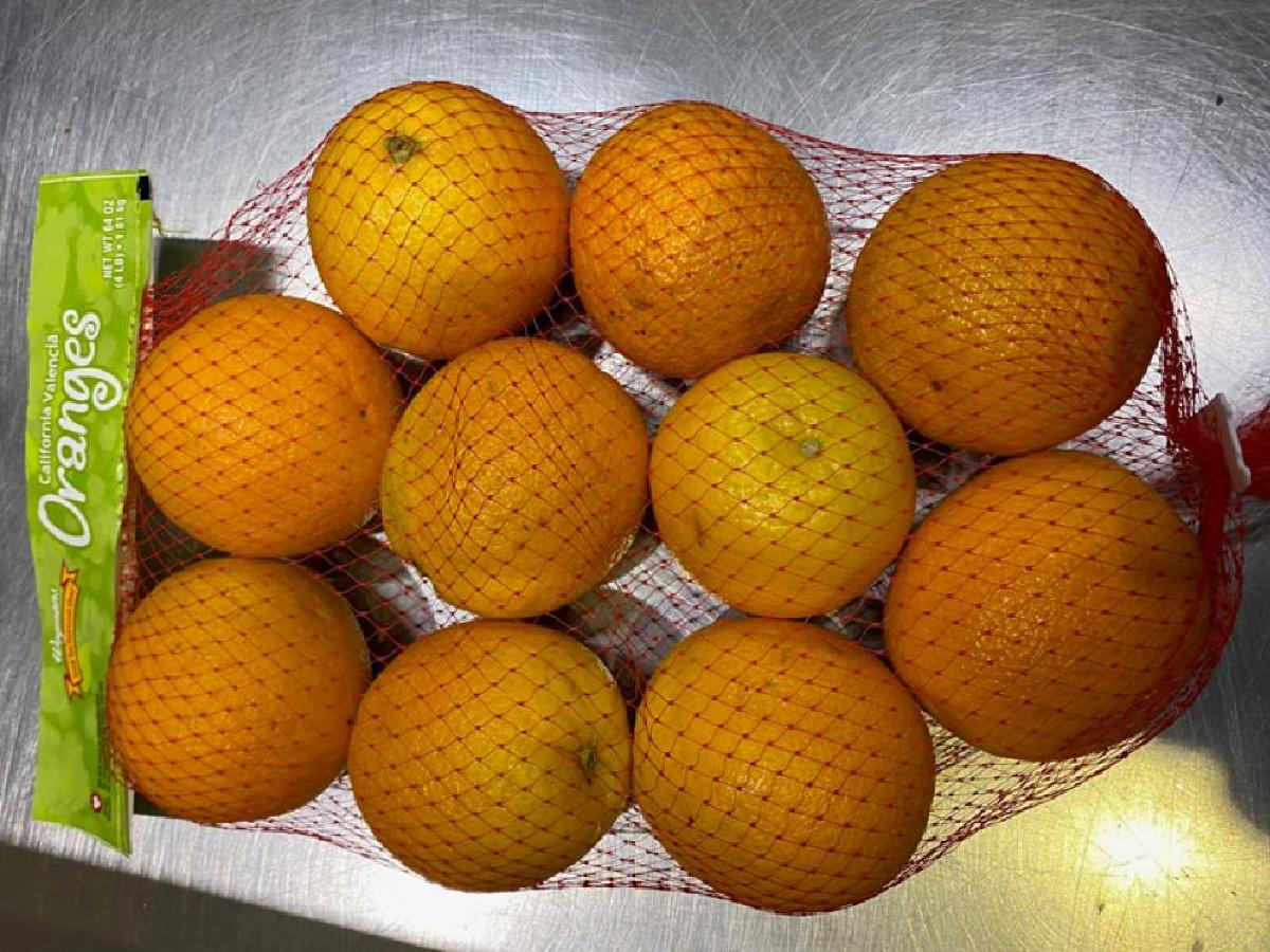 mesh bag of oranges