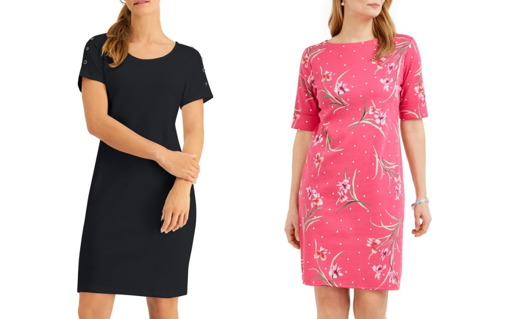woman wearing a black dress and woman wearing pink floral dress