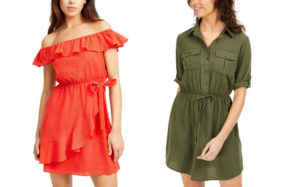 woman wearing ruffle coral dress and woman wearing olive shirt dress
