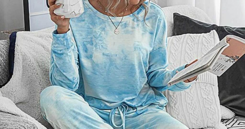 woman wearing a blue tie dye pajama