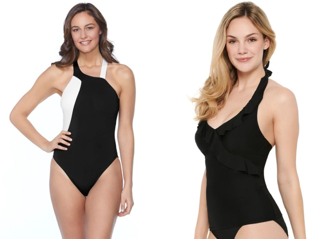 2 women wearing different style black swimsuits
