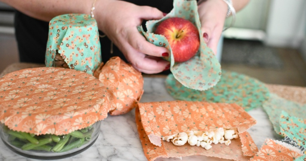 wrapping food with beeswax food wraps