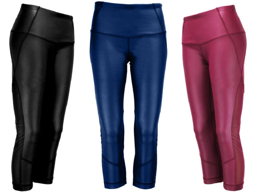 three pair of leggings in bright colors on white background