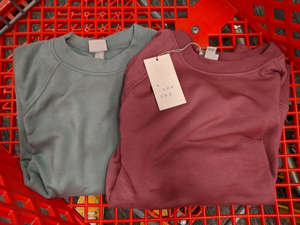 sage green and burnt red A New Day Women's Crew Neck Fleece Pull-Overs