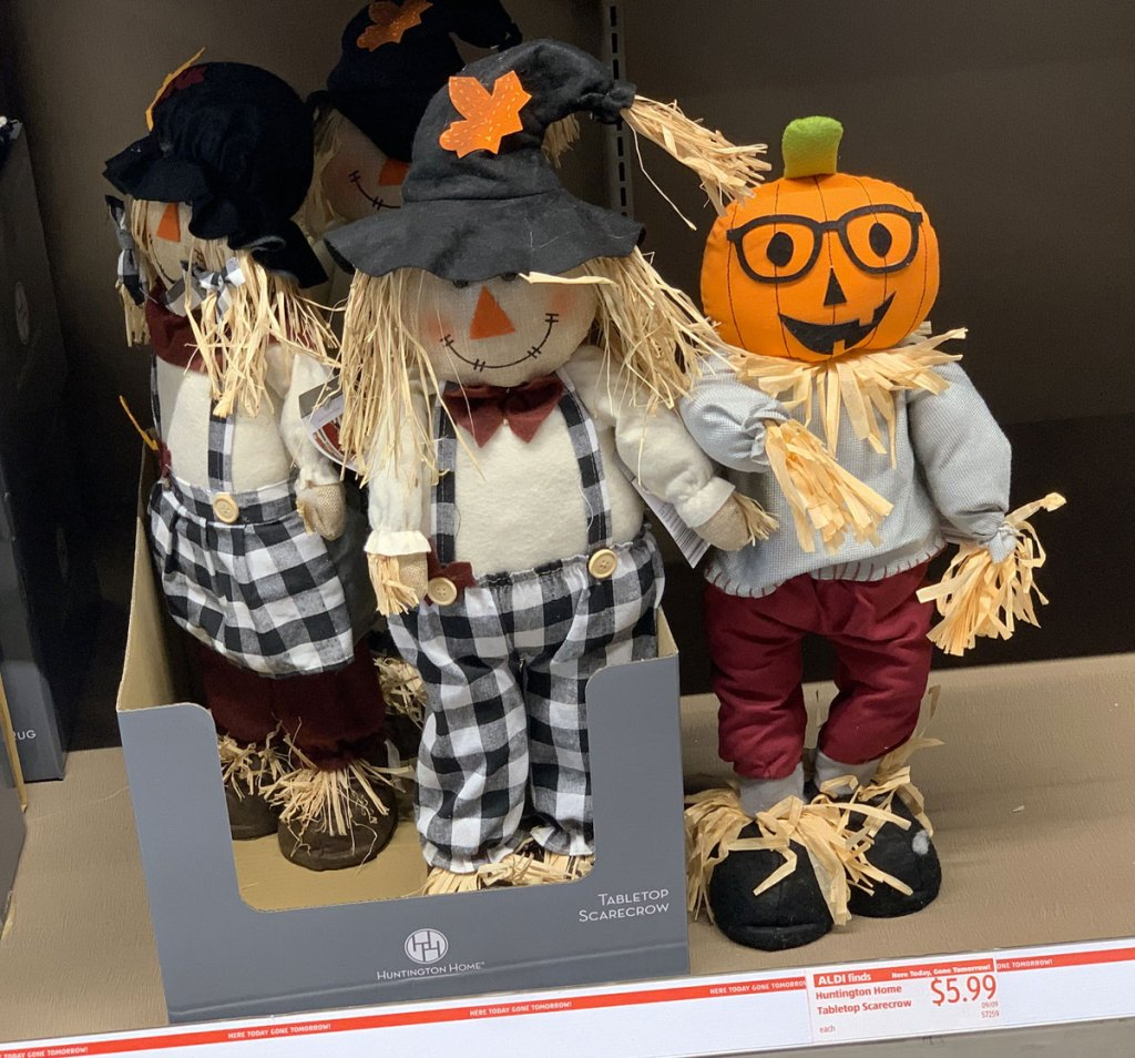 tabletop scarecrow and pumpkin head scarecrows on ALDI store shelf