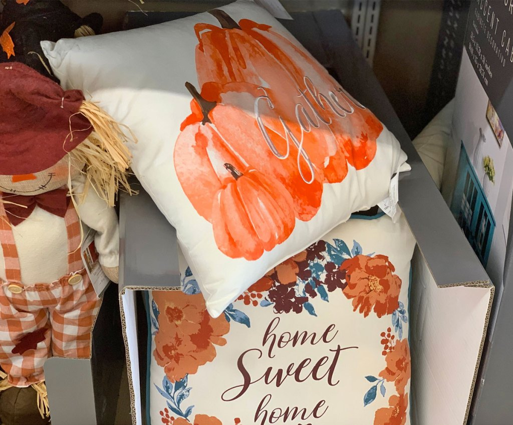 fall flowers and pumpkin themed throw pillows on ALDI store shelf