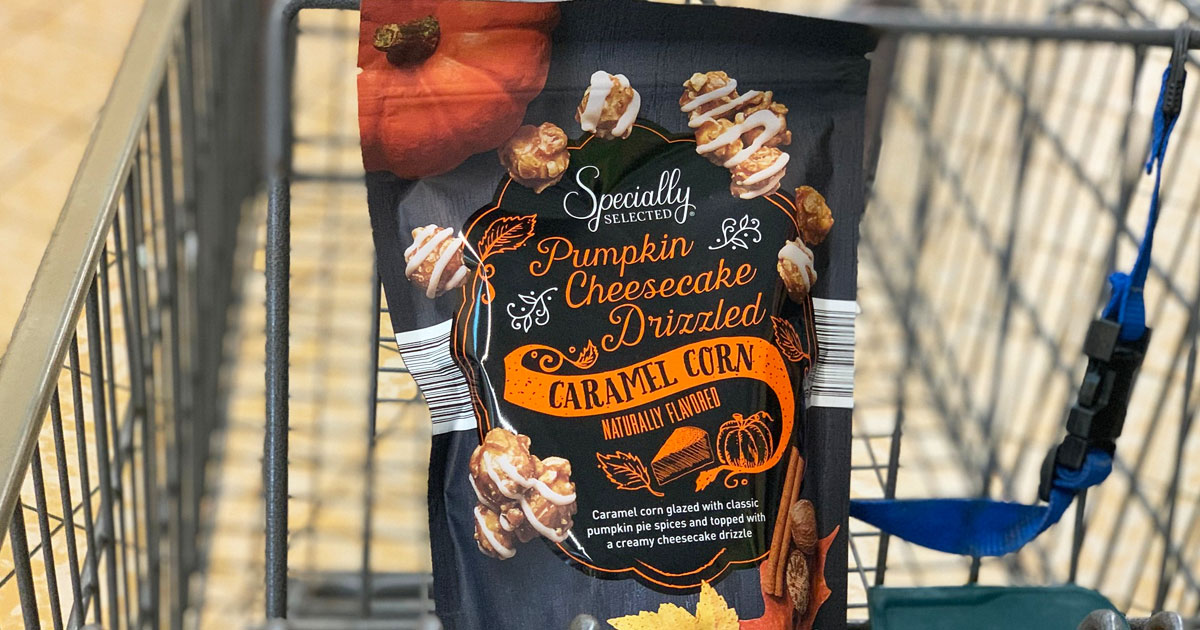 Aldi S Selling Pumpkin Cheesecake Drizzled Caramel Corn For Just 2 99 Hip2save