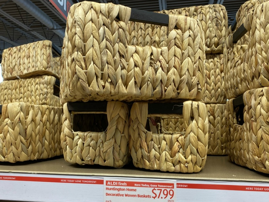 In-store display of woven storage baskets