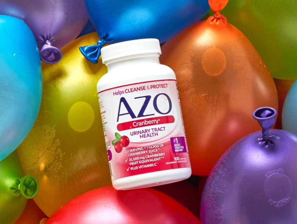 AZO Cranberry softgels bottle on balloons