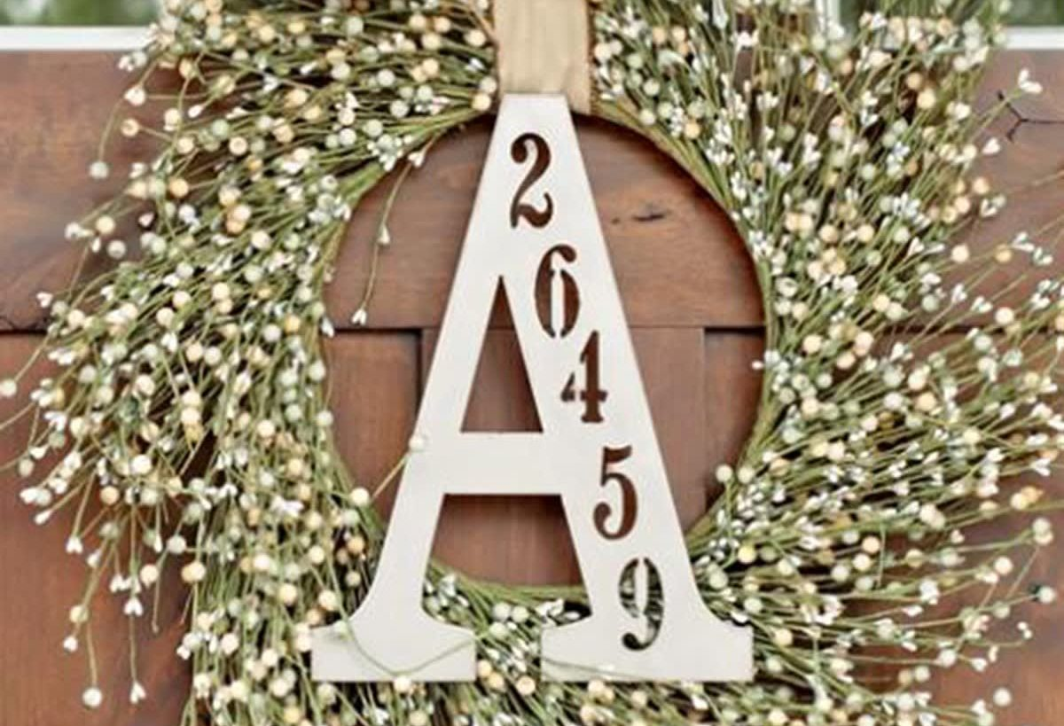 letter A on a wreath