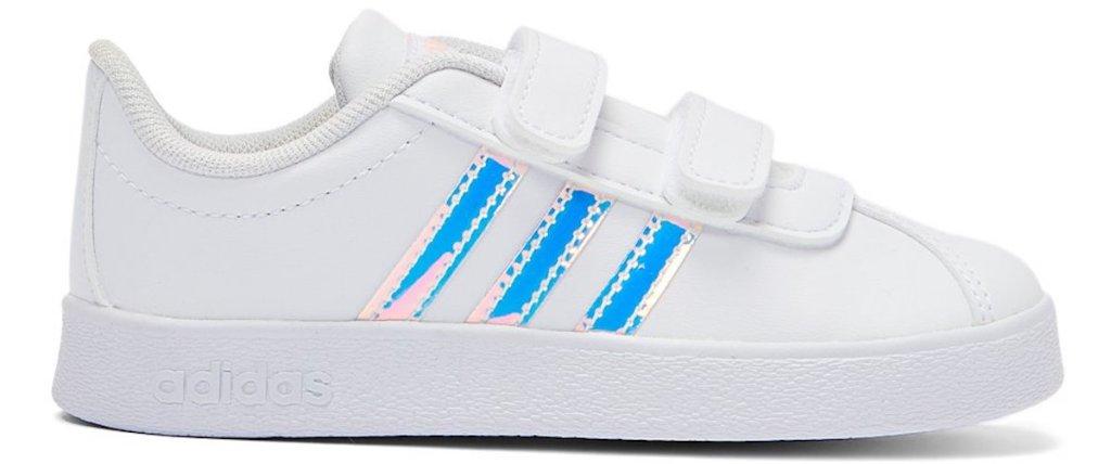 white pair of Adidas Cloud White & Silver Metallic VL Court Sneaker