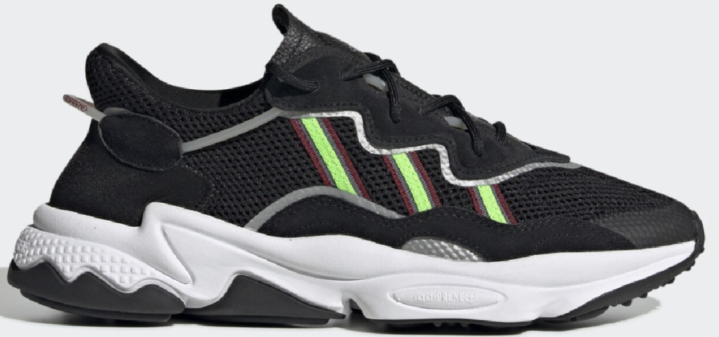 adidas brand black and solar green athletic shoes