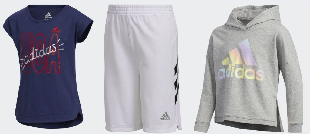 adidas kids tee, shorts and sweatshirt