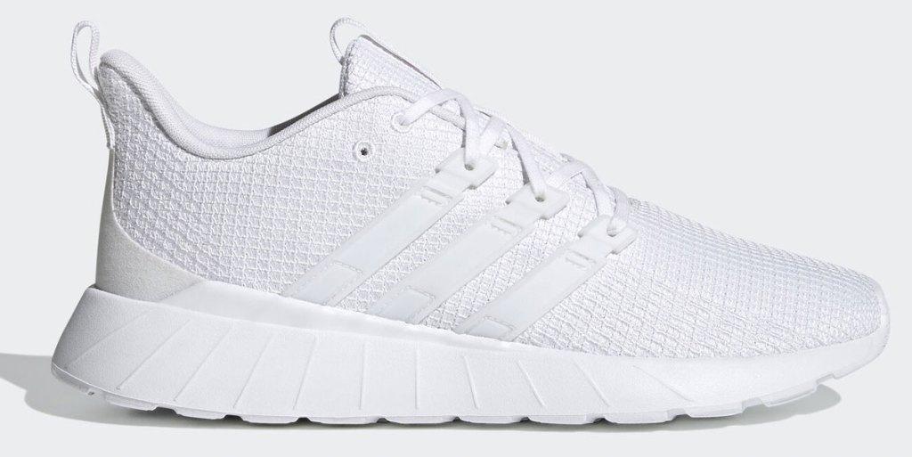pure white men's adidas mesh running shoe