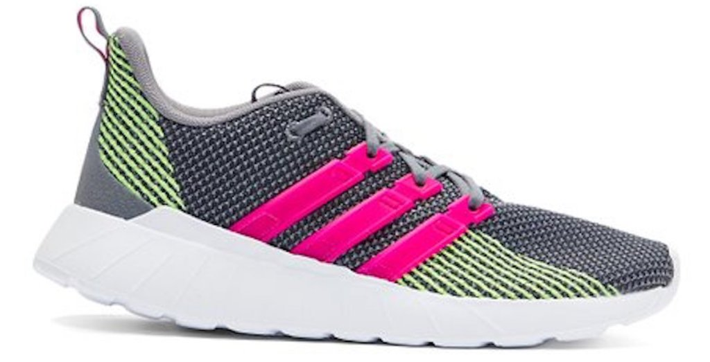 pink, grey, and lime green Adidas Questar Flow Women's Sneakers