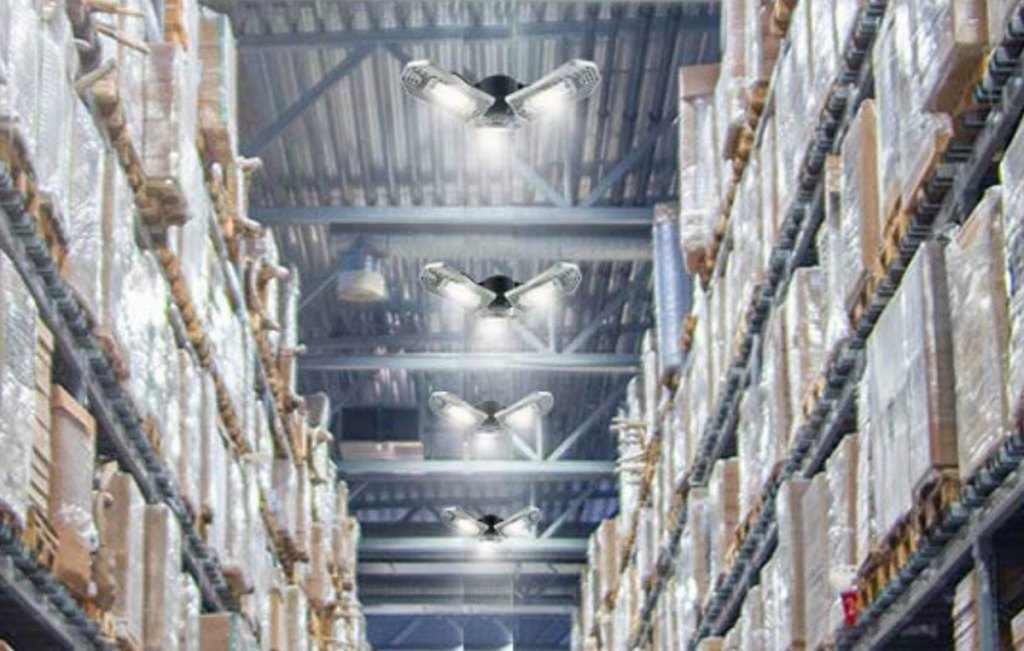 warehouse with adjustable trilights installed on ceilings