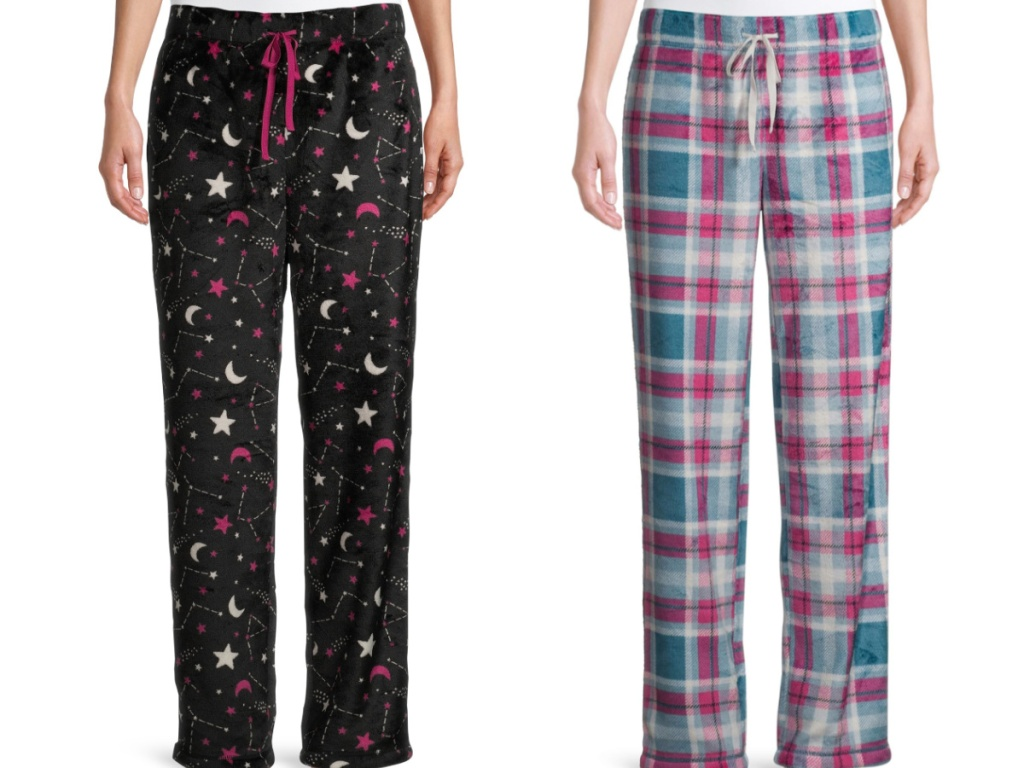 2 women standing next to each other wearing fuzzy pajama bottoms